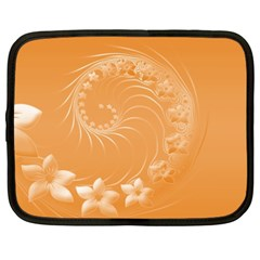 Orange Abstract Flowers Netbook Case (xxl)