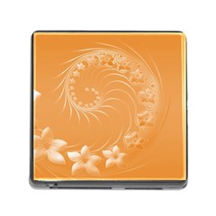 Orange Abstract Flowers Memory Card Reader with Storage (Square)