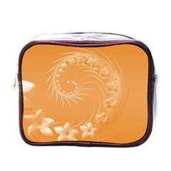 Orange Abstract Flowers Mini Travel Toiletry Bag (One Side)