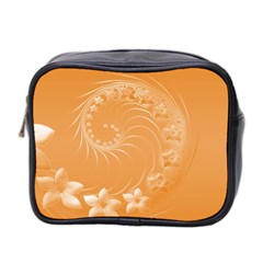 Orange Abstract Flowers Mini Travel Toiletry Bag (two Sides)