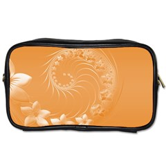 Orange Abstract Flowers Travel Toiletry Bag (One Side)