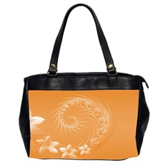 Orange Abstract Flowers Oversize Office Handbag (Two Sides)