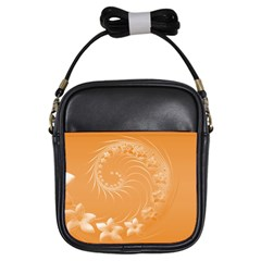 Orange Abstract Flowers Girl s Sling Bag