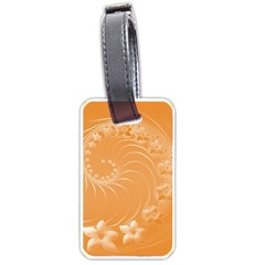 Orange Abstract Flowers Luggage Tag (Two Sides)