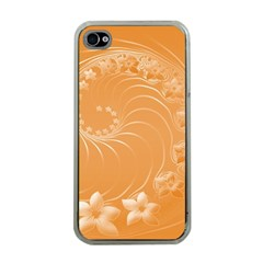 Orange Abstract Flowers Apple iPhone 4 Case (Clear)
