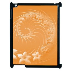 Orange Abstract Flowers Apple iPad 2 Case (Black)