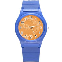 Orange Abstract Flowers Plastic Sport Watch (Small)