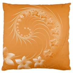 Orange Abstract Flowers Large Cushion Case (One Side)