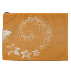 Orange Abstract Flowers Cosmetic Bag (XXL)