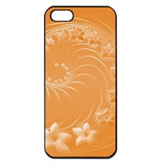 Orange Abstract Flowers Apple iPhone 5 Seamless Case (Black)