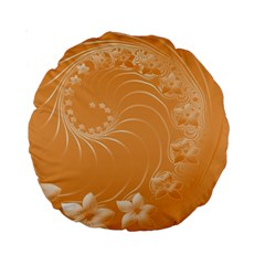 Orange Abstract Flowers 15  Premium Round Cushion