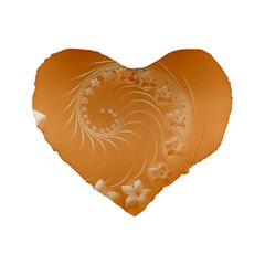 Orange Abstract Flowers 16  Premium Heart Shape Cushion