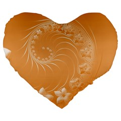 Orange Abstract Flowers 19  Premium Heart Shape Cushion