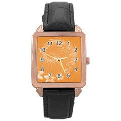 Orange Abstract Flowers Rose Gold Leather Watch