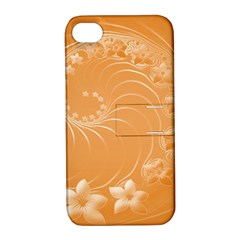 Orange Abstract Flowers Apple iPhone 4/4S Hardshell Case with Stand
