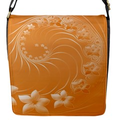 Orange Abstract Flowers Flap closure messenger bag (Small)