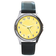 Yellow Abstract Flowers Round Metal Watch (Silver Rim)
