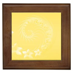 Yellow Abstract Flowers Framed Ceramic Tile