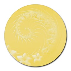 Yellow Abstract Flowers 8  Mouse Pad (Round)