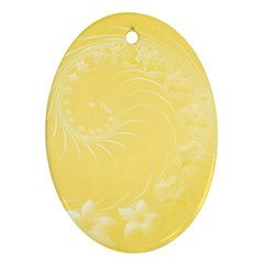 Yellow Abstract Flowers Oval Ornament