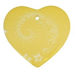 Yellow Abstract Flowers Heart Ornament