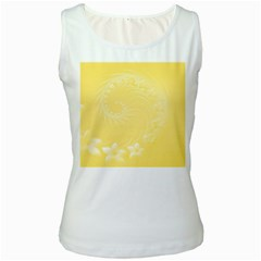 Yellow Abstract Flowers Womens  Tank Top (White)