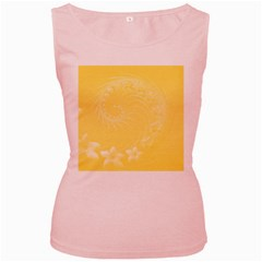 Yellow Abstract Flowers Womens  Tank Top (Pink)