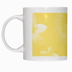 Yellow Abstract Flowers White Coffee Mug
