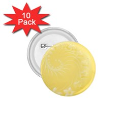 Yellow Abstract Flowers 1.75  Button (10 pack)