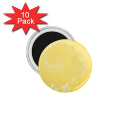 Yellow Abstract Flowers 1 75  Button Magnet (10 Pack)