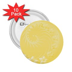 Yellow Abstract Flowers 2 25  Button (10 Pack)