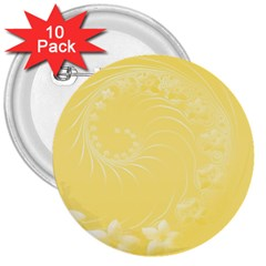Yellow Abstract Flowers 3  Button (10 pack)