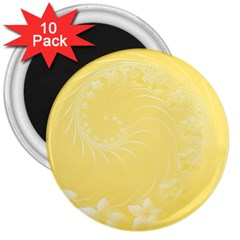 Yellow Abstract Flowers 3  Button Magnet (10 pack)