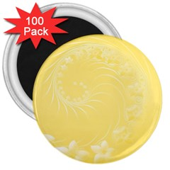 Yellow Abstract Flowers 3  Button Magnet (100 Pack)