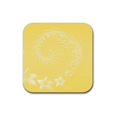 Yellow Abstract Flowers Drink Coaster (square)
