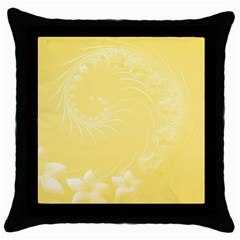 Yellow Abstract Flowers Black Throw Pillow Case