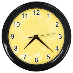 Yellow Abstract Flowers Wall Clock (black)