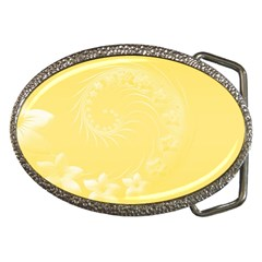 Yellow Abstract Flowers Belt Buckle (oval)