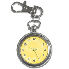 Yellow Abstract Flowers Key Chain & Watch