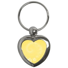 Yellow Abstract Flowers Key Chain (Heart)