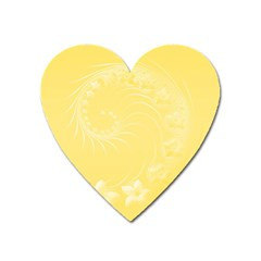 Yellow Abstract Flowers Magnet (Heart)