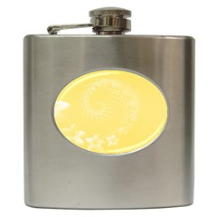 Yellow Abstract Flowers Hip Flask