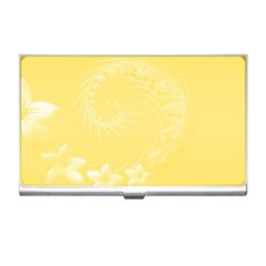 Yellow Abstract Flowers Business Card Holder