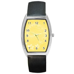 Yellow Abstract Flowers Tonneau Leather Watch