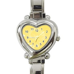 Yellow Abstract Flowers Heart Italian Charm Watch