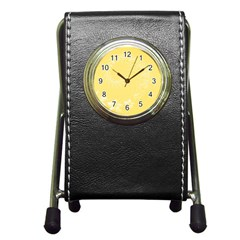 Yellow Abstract Flowers Stationery Holder Clock
