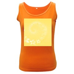 Yellow Abstract Flowers Womens  Tank Top (dark Colored)