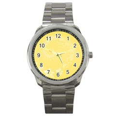 Yellow Abstract Flowers Sport Metal Watch