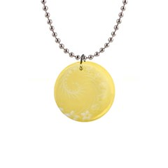 Yellow Abstract Flowers Button Necklace