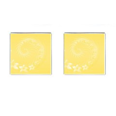 Yellow Abstract Flowers Cufflinks (Square)